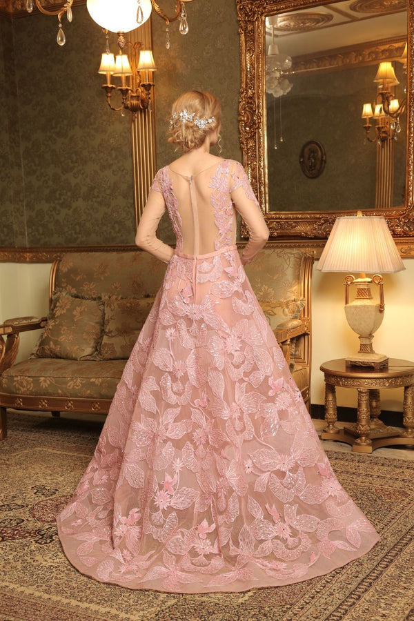 Amit GT - Pink hand embroidered rosamund gown