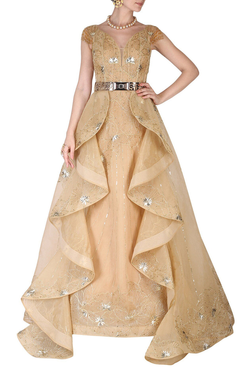 Amit GT - Golden hand embroidered ball gown