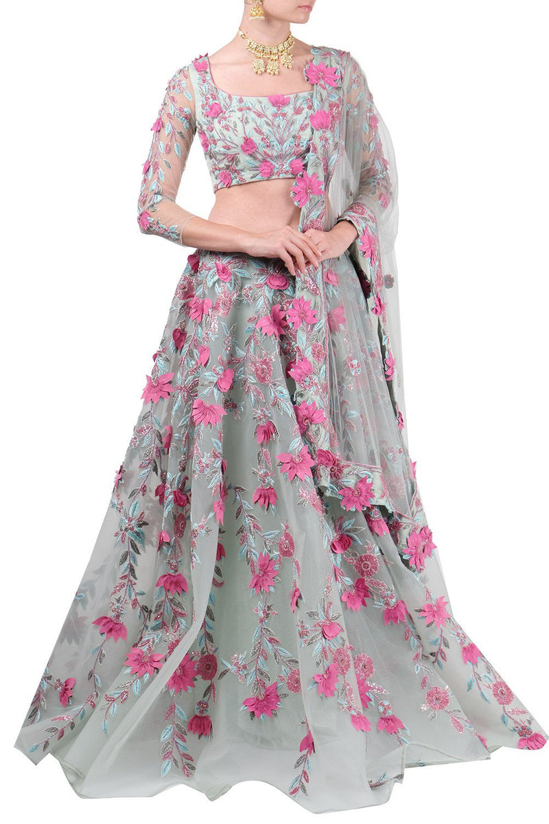 Amit GT - Sea green floral lehenga set