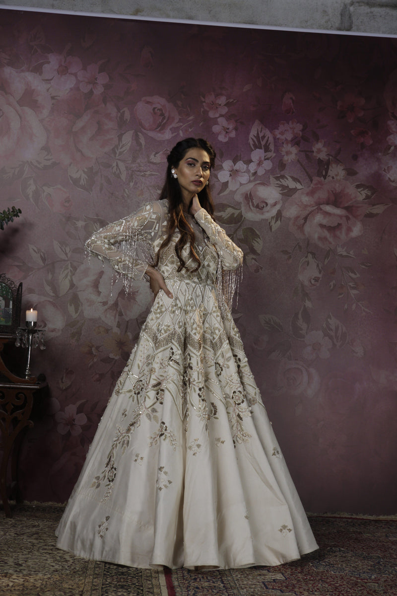 Bindani by Jigar & Nikita - Hand Embroidered Ivory Cocktail Gown