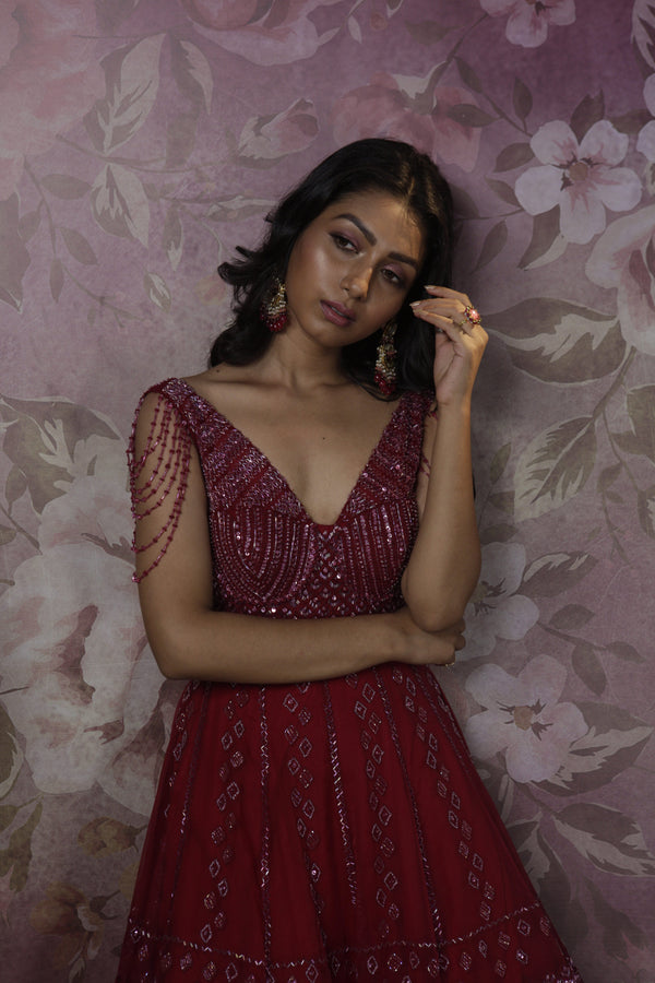Bindani by Jigar & Nikita - Hand Embroidered Red Cocktail Gown