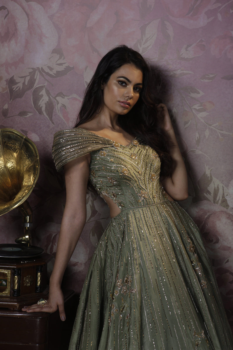 Bindani by Jigar & Nikita - Hand Embroidered Olive Green Cocktail Gown