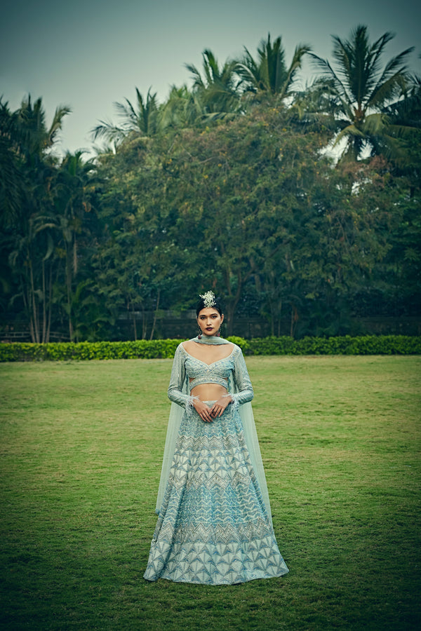 Bindani by Jigar & Nikita - Hand Embroidered Arctic Blue Lehenga