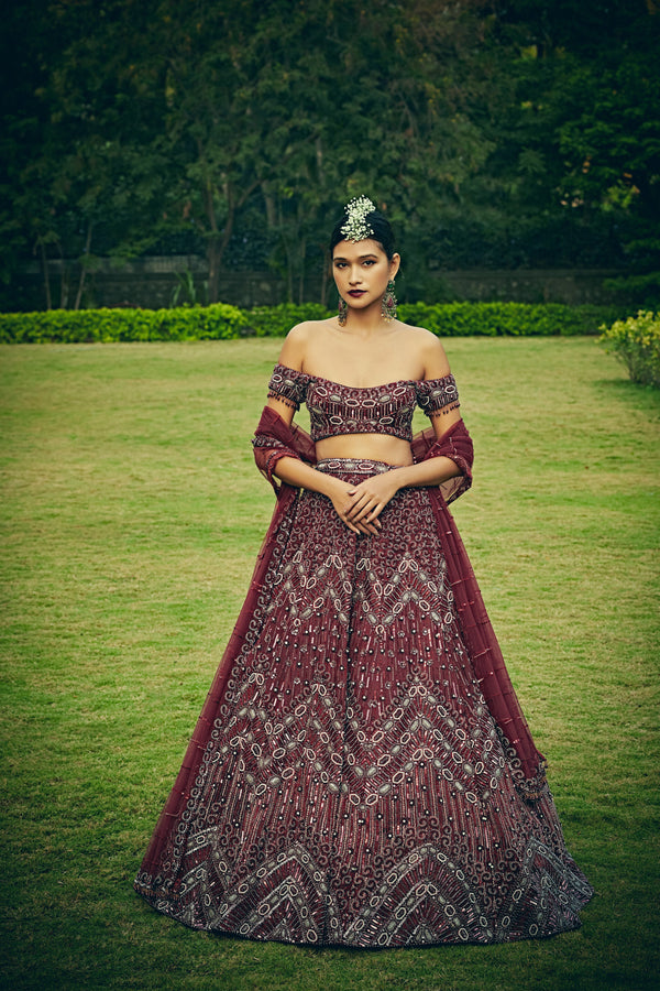 Bindani by Jigar & Nikita - Hand Embroidered Wine Red Lehenga Set