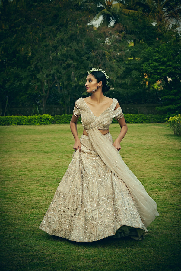 Bindani by Jigar & Nikita - Hand Embroidered Pearl Ivory Lehenga Set