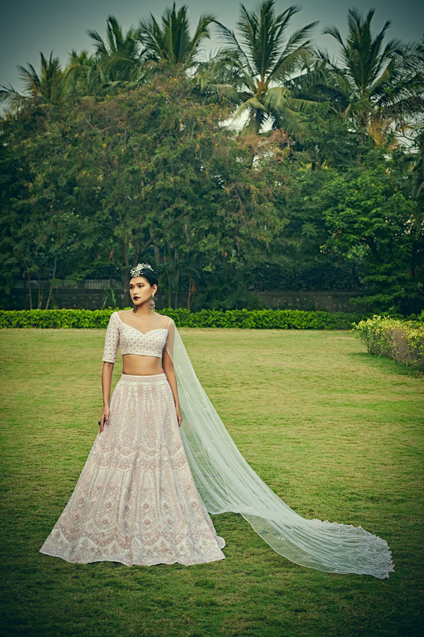 Bindani by Jigar & Nikita - Hand Embroidered Rose Quartz Pink Lehenga Set