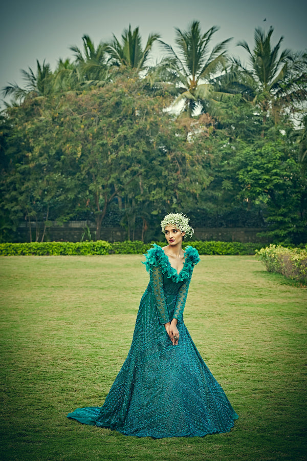Bindani by Jigar & Nikita - Hand Embroidered Ocean Blue Trail Gown