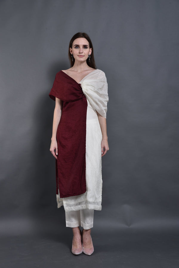Bhagyashree Singh Raghuwanshi - Double Shade Off Shoulder Kurta