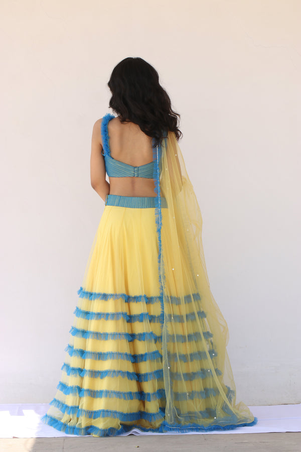 Label G3 By Gayathri Reddy - Yellow Frilled Lehanga with Blue Pleated Blouse