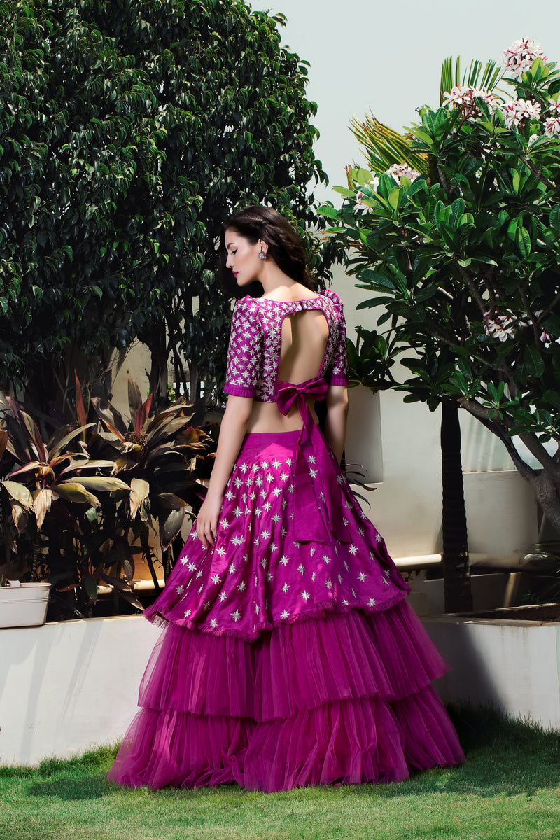 Label G3 By Gayathri Reddy - Beetroot Color Layered Lehanga with Crop Top
