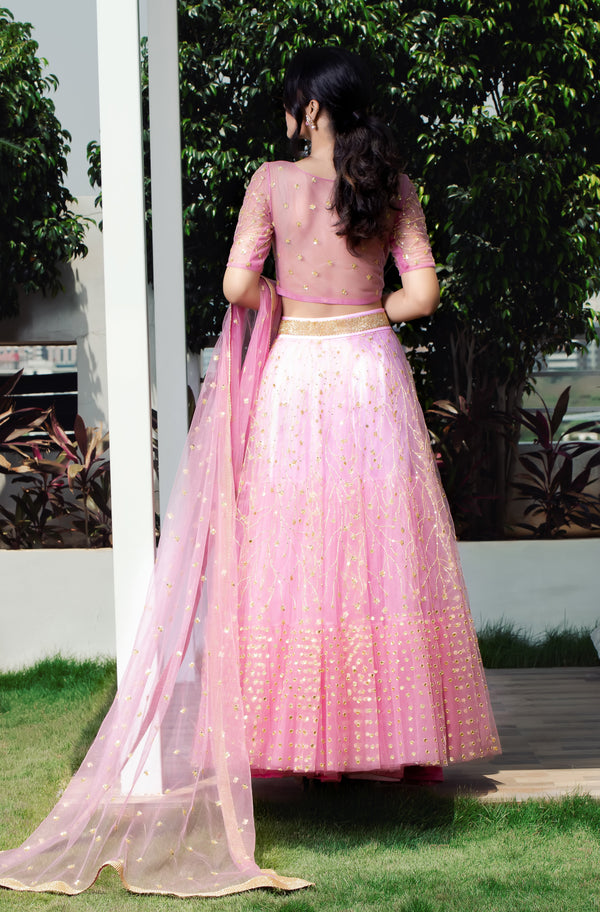 Label G3 By Gayathri Reddy - Onion Pink Ombre Effect Tiered Tulle Lehanga Set