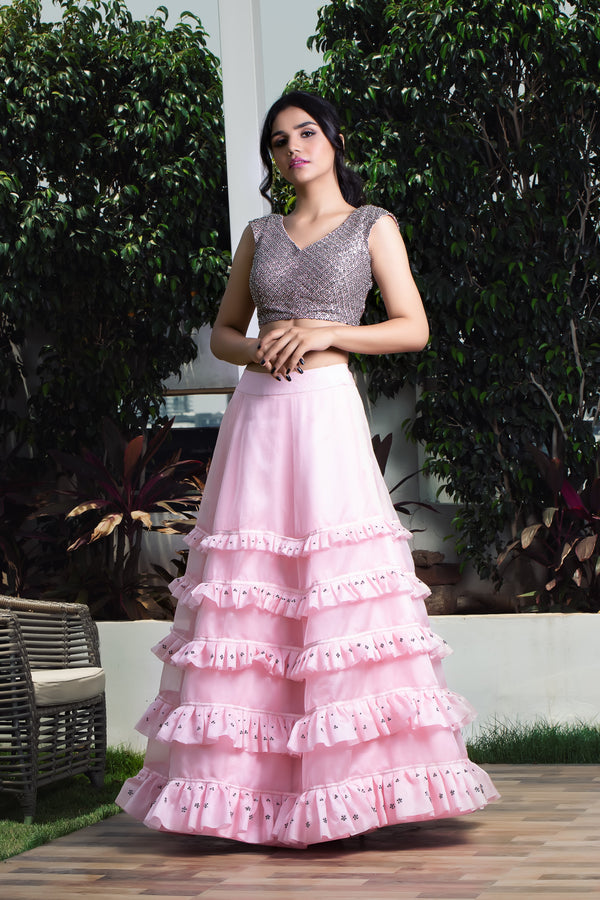 Label G3 By Gayathri Reddy - Pink Ruffle Lehanga Set