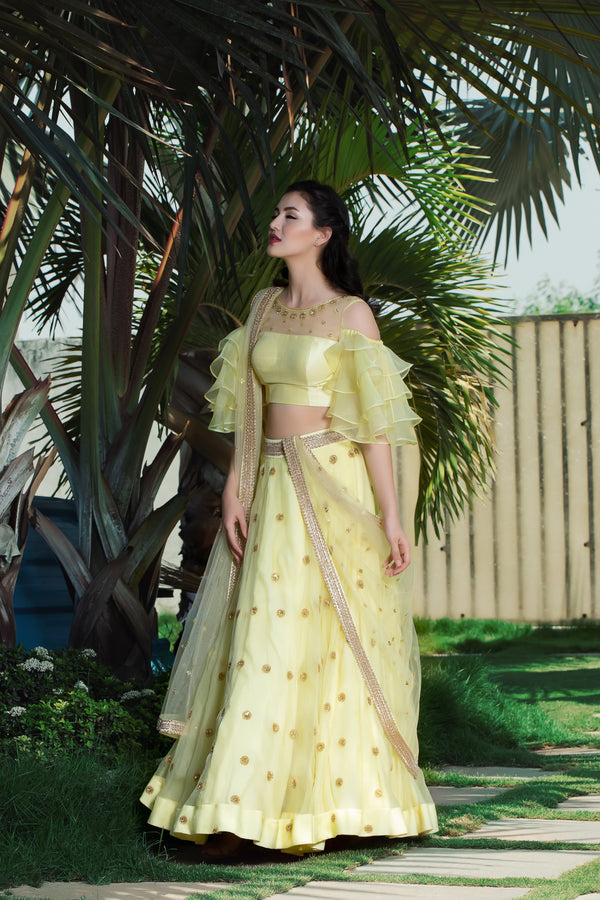 Label G3 By Gayathri Reddy - Yellow Embroidered Lehanga with Ruffle Blouse