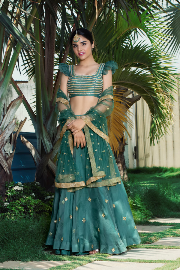 Label G3 By Gayathri Reddy - Bluish Green Embroidered Lehanga Set