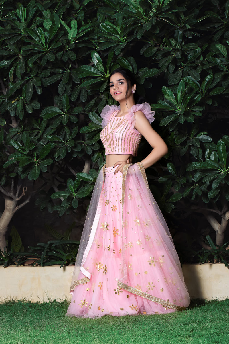 Label G3 By Gayathri Reddy - Pink Gota Work Tiered Lehanga Set