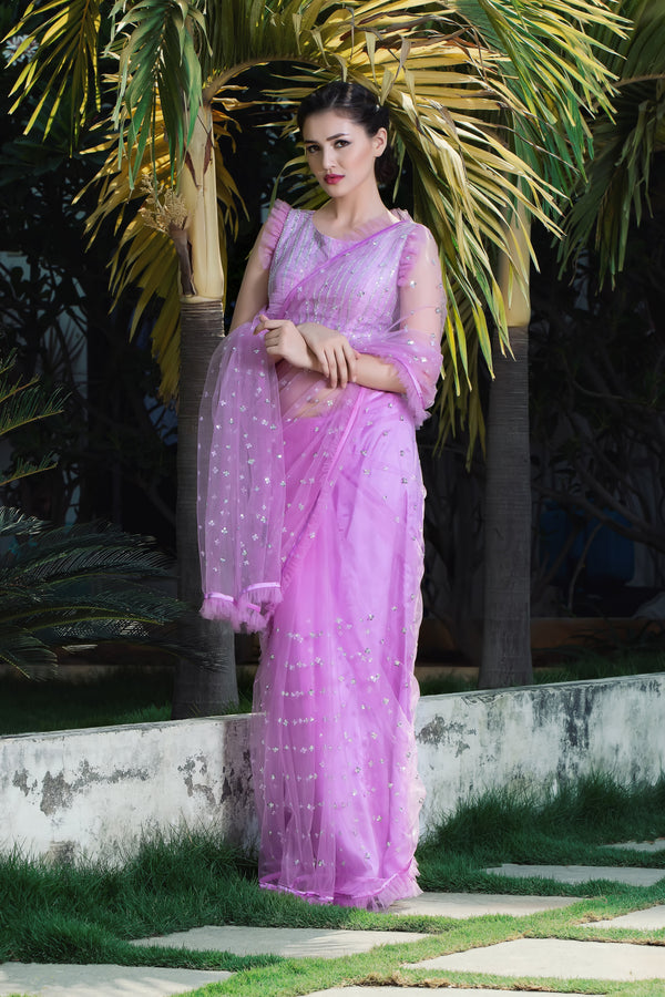 Label G3 By Gayathri Reddy - Lilac Color Frill Detailed Saree