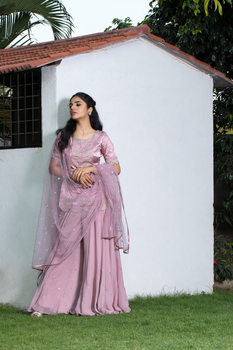 Label G3 By Gayathri Reddy - Scallop Detailed Dusty Rose Gold Ghararas