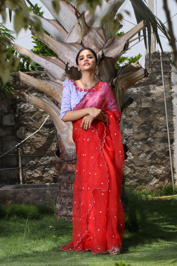 Label G3 By Gayathri Reddy - Red Scallop Detailed Saree with Puff Sleeve Blouse