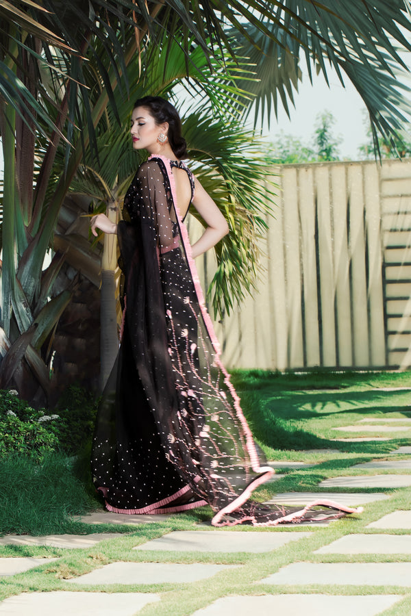 Label G3 By Gayathri Reddy - Black Saree Embellished with Fabric Flowers