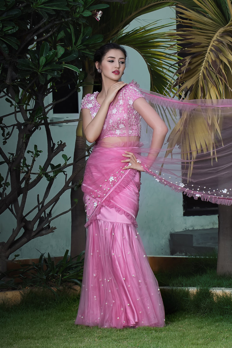 Label G3 By Gayathri Reddy - Onion Pink Pre Pleated Cocktail Saree with Floral Embellished Blouse