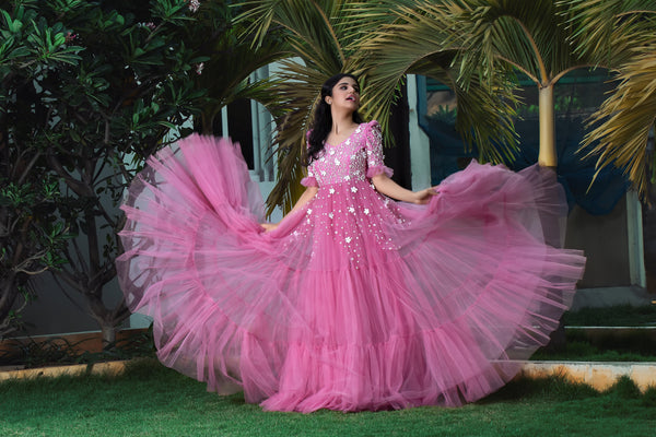 Label G3 By Gayathri Reddy - Onion Pink Floral Embellished Tiered Gown