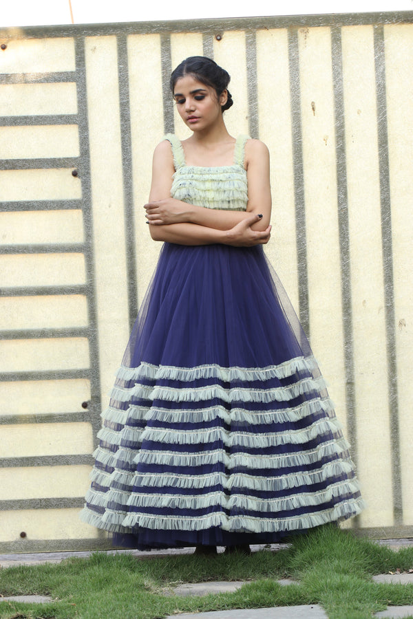 Label G3 By Gayathri Reddy - Navy Blue Ankle Length Gown