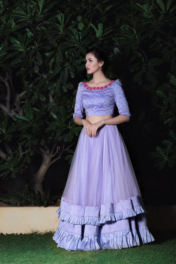 Label G3 By Gayathri Reddy - Lavender Layered Pleated Skirt with Embroidered Crop Top