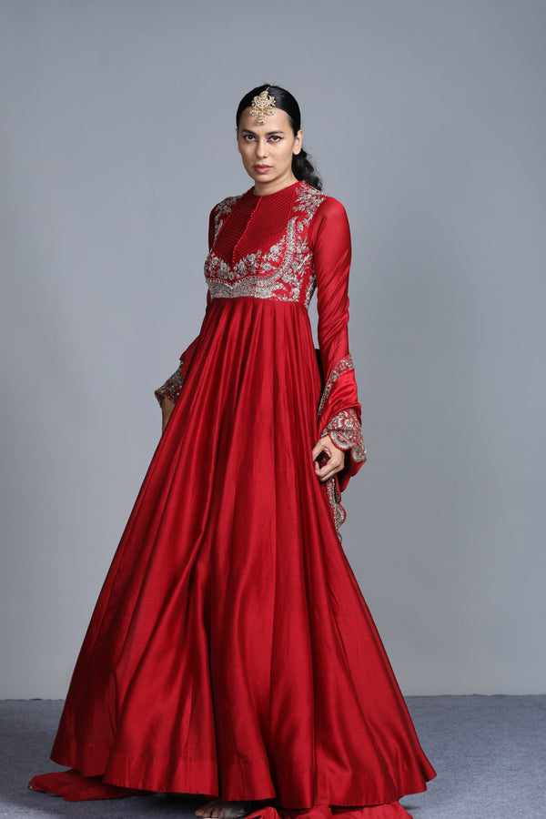 Jayanti Reddy - Maroon Embroidered Anarkali With Embroidered Dupatta Set