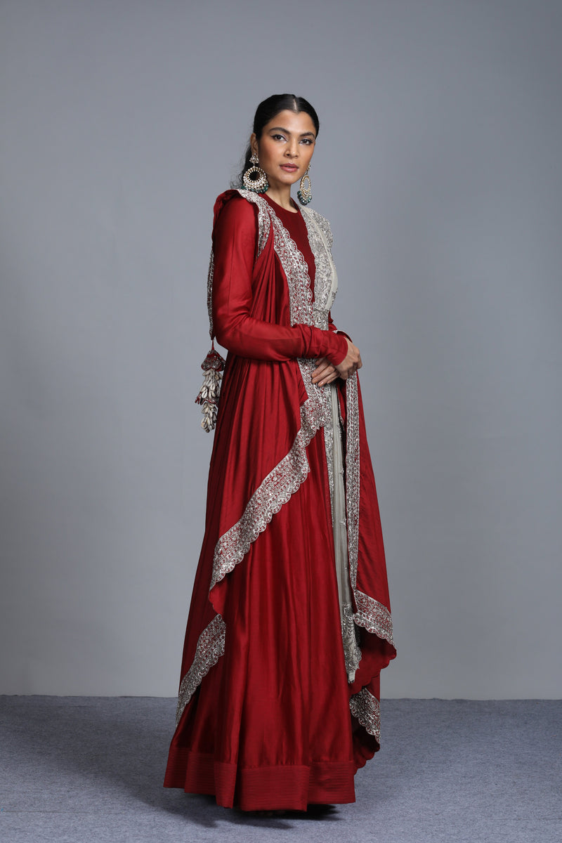 Jayanti Reddy - Chanderi Silk Embroidered Maroon Anarkali Set