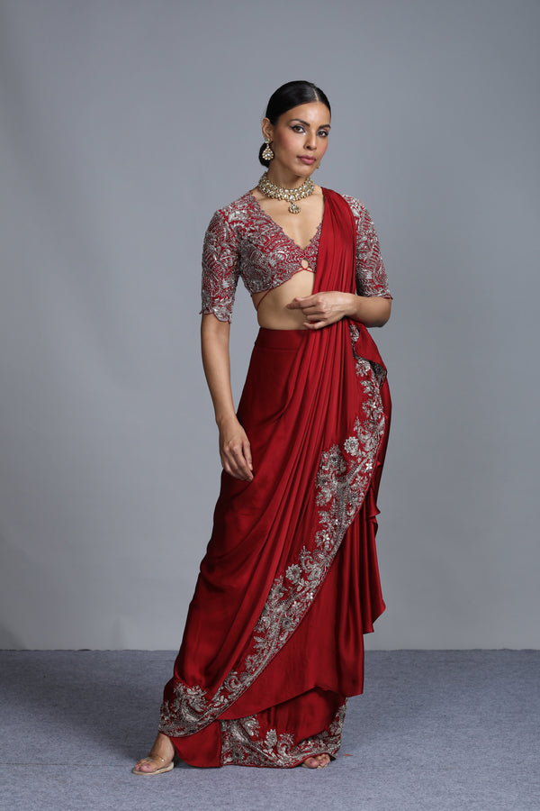Jayanti Reddy - Maroon Pre-Pleated Embroidered Saree with Blouse
