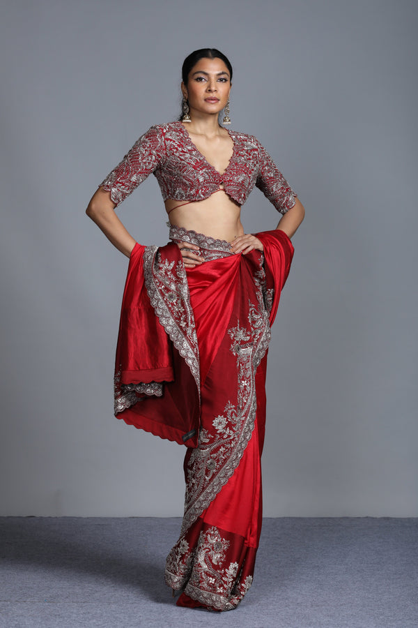 Jayanti Reddy - Red Embroidered Silk Saree with Blouse