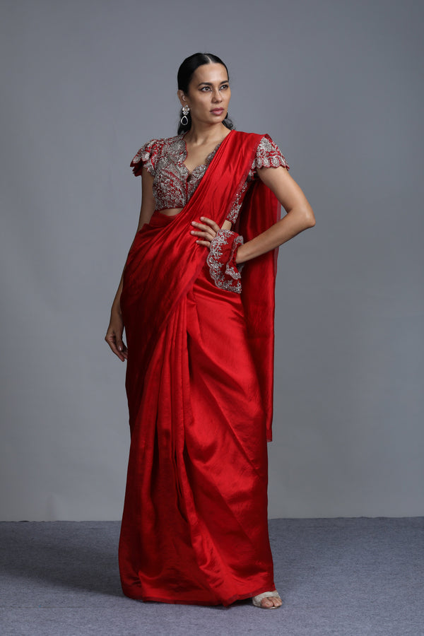Jayanti Reddy - Red Plain Silk Saree with Embroidered Blouse