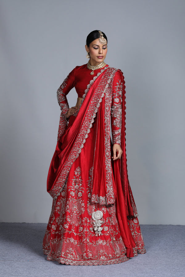 Jayanti Reddy - Red Embroidered Raw Silk Lehenga With Full Sleeves Blouse Set