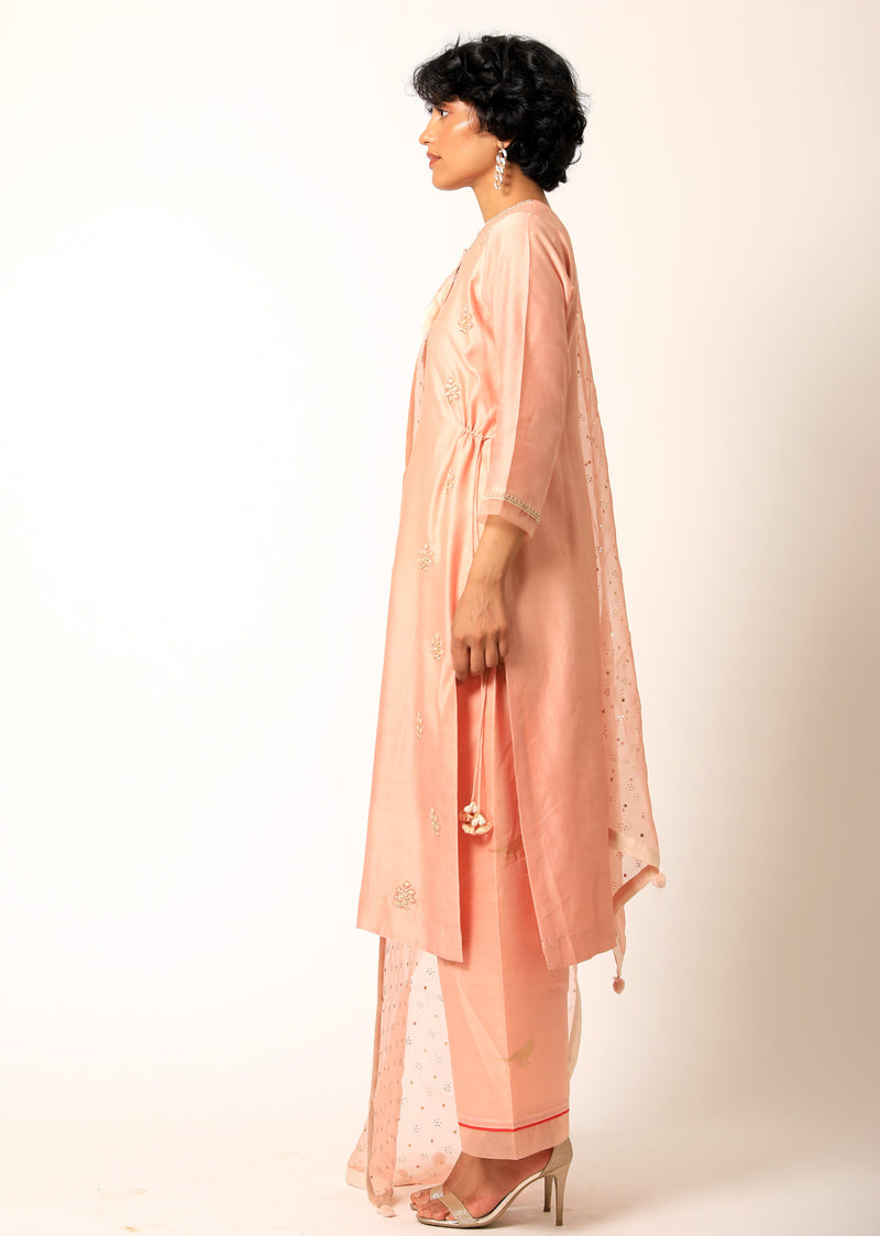 Romaa - Peach Embroidered Kurta Set