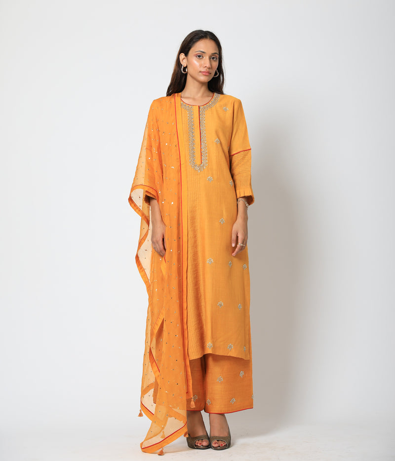 Romaa - Mango Yellow Embroidered Kurta Set