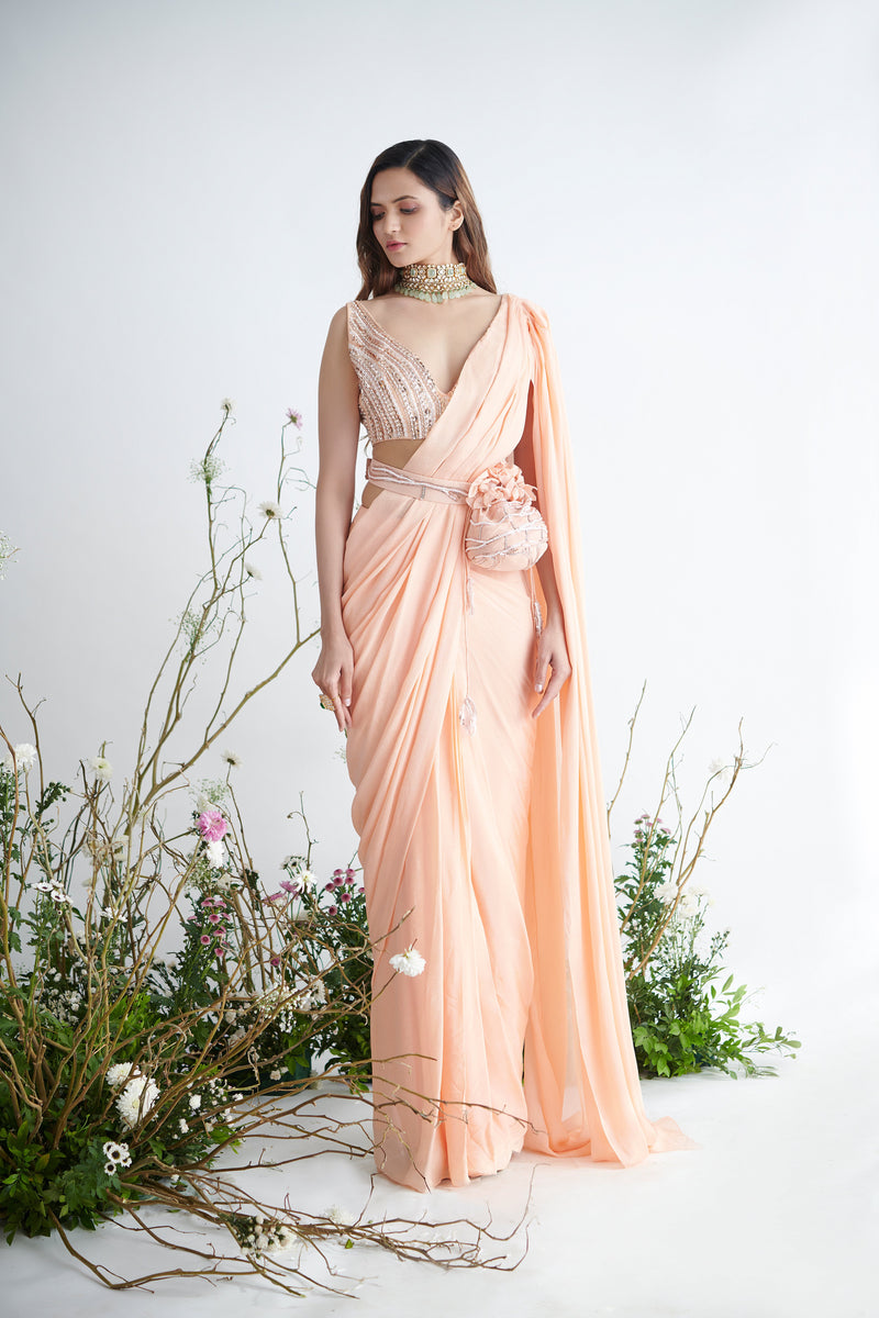 Pink Peacock Couture - Peach Hand Embroidered Pre-Draped Saree