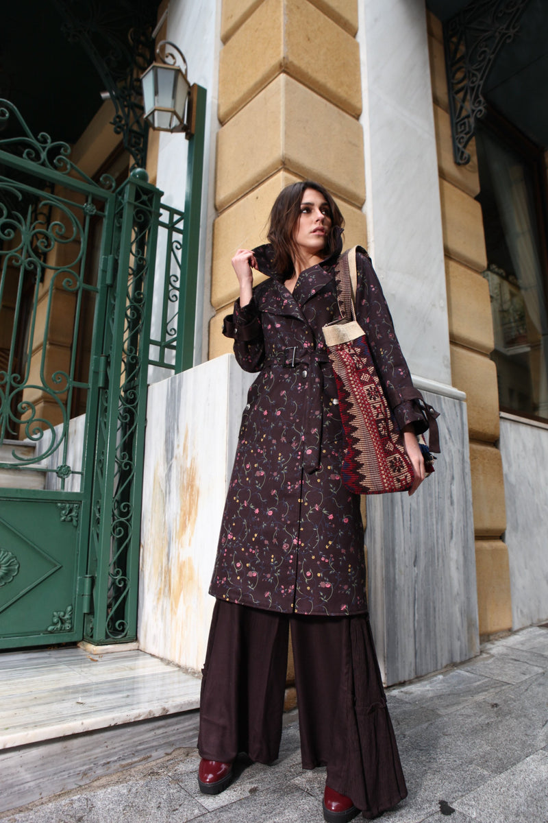 Pinnacle By Shruti Sancheti - Brown Printed Trench & Palazzo