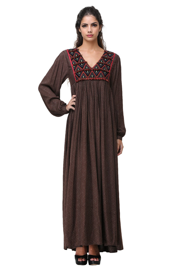 Pinnacle By Shruti Sancheti - Brown Embroidered Maxi