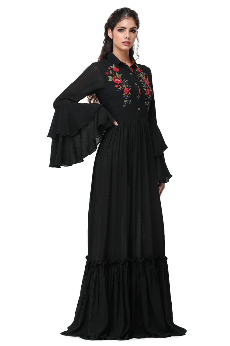 Pinnacle By Shruti Sancheti - Black Embroidered Maxi