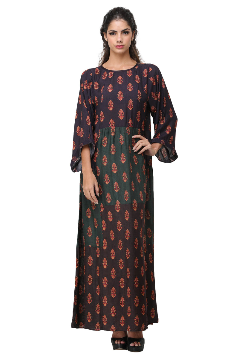 Pinnacle By Shruti Sancheti - Multi Color Printed Blocked Maxi