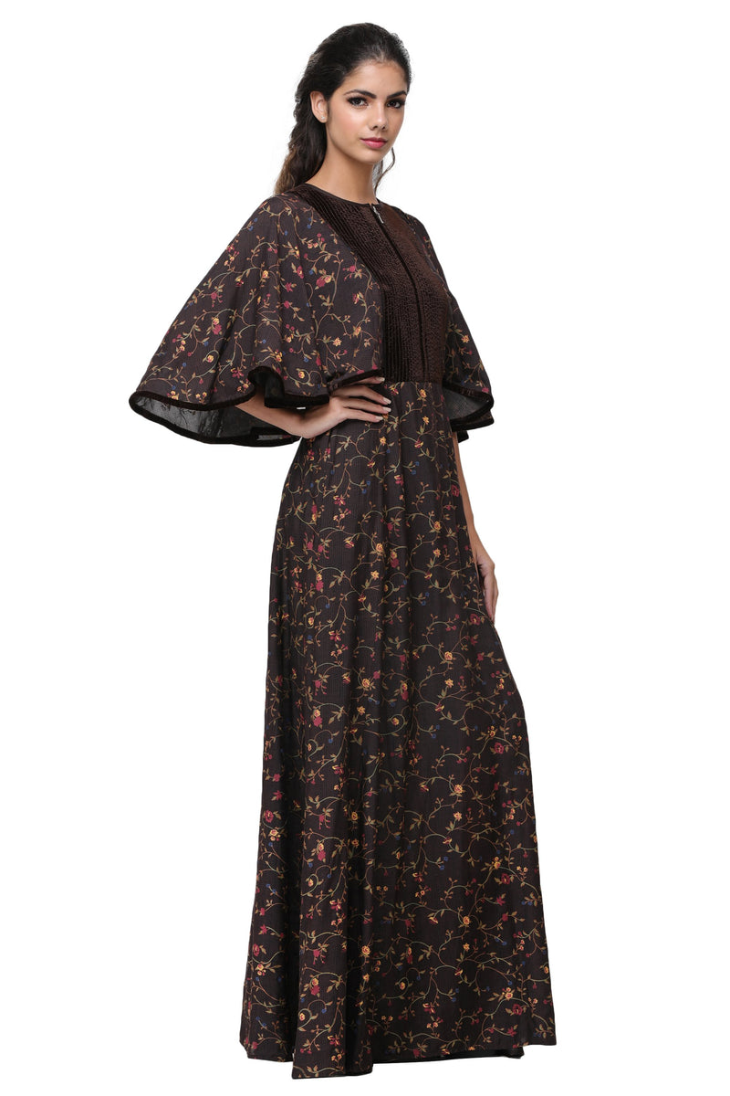 Pinnacle By Shruti Sancheti - Brown Printed Cape Maxi