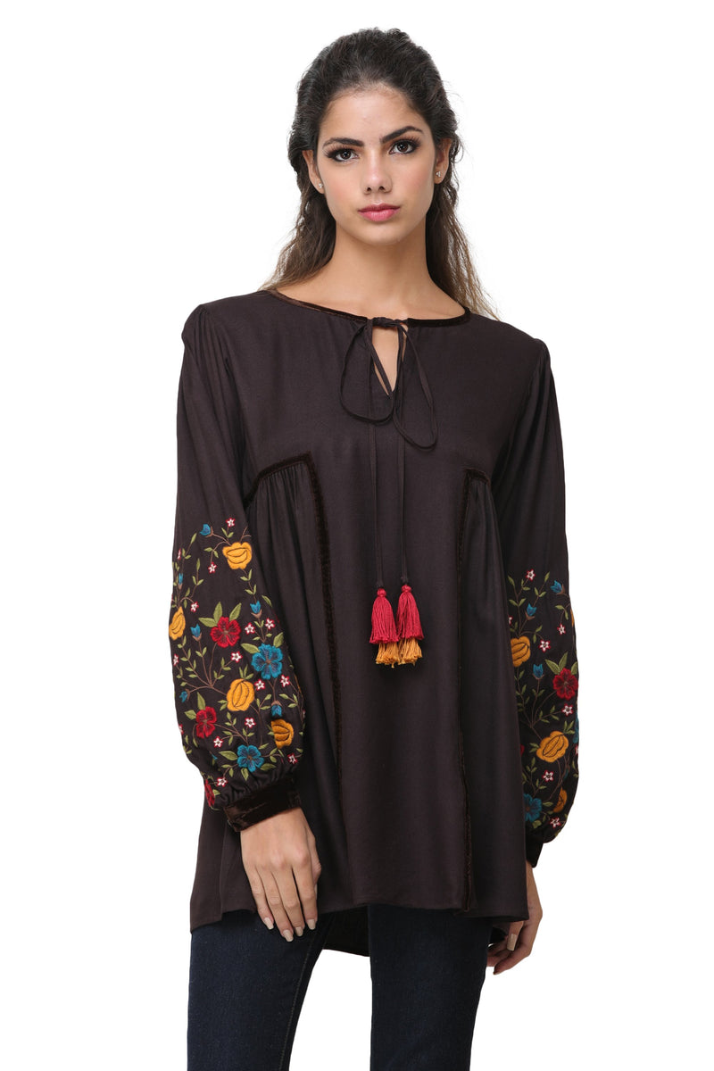 Pinnacle By Shruti Sancheti - Brown Embroidered Top
