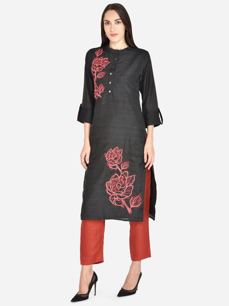 It Way Of Life -  Black Solid Woven Kurti