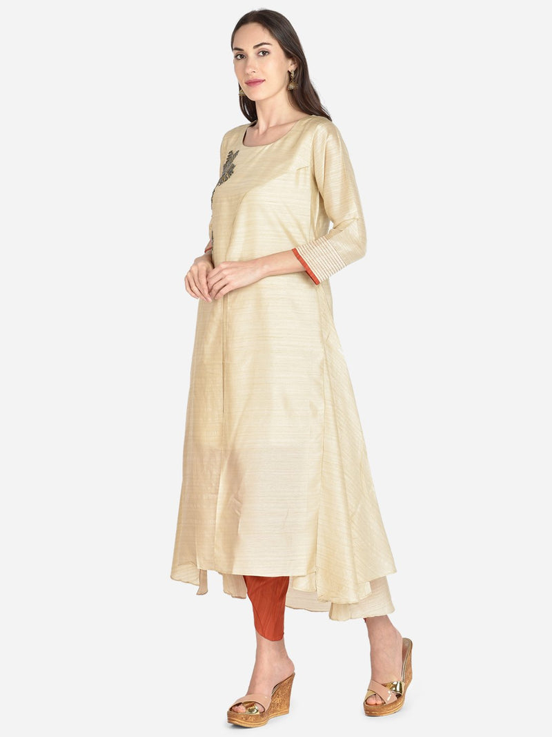 It Way Of Life -  Cream Solid Woven Kurti
