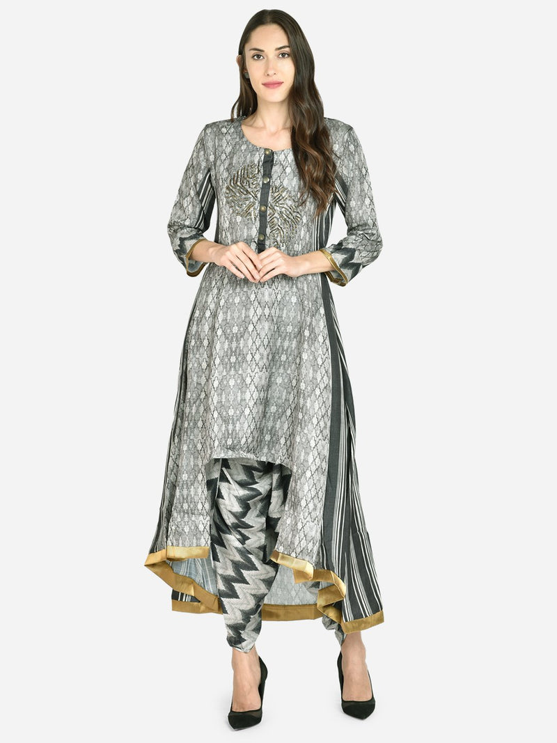It Way Of Life -  Black & Grey Printed Woven Kurta