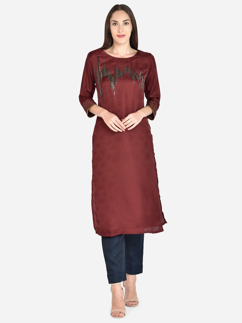 It Way Of Life - Maroon Jacquard Woven Kurti
