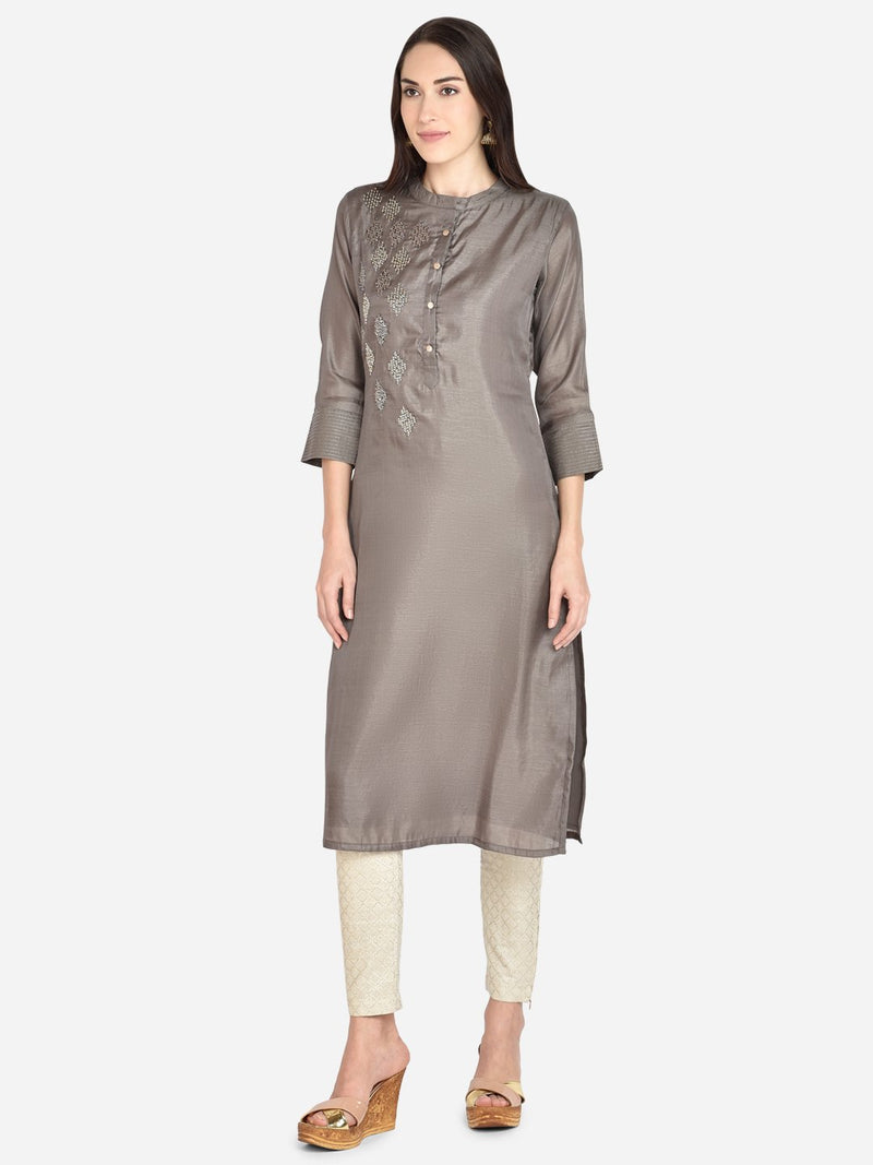 It Way Of Life - Grey Solid Woven Kurti