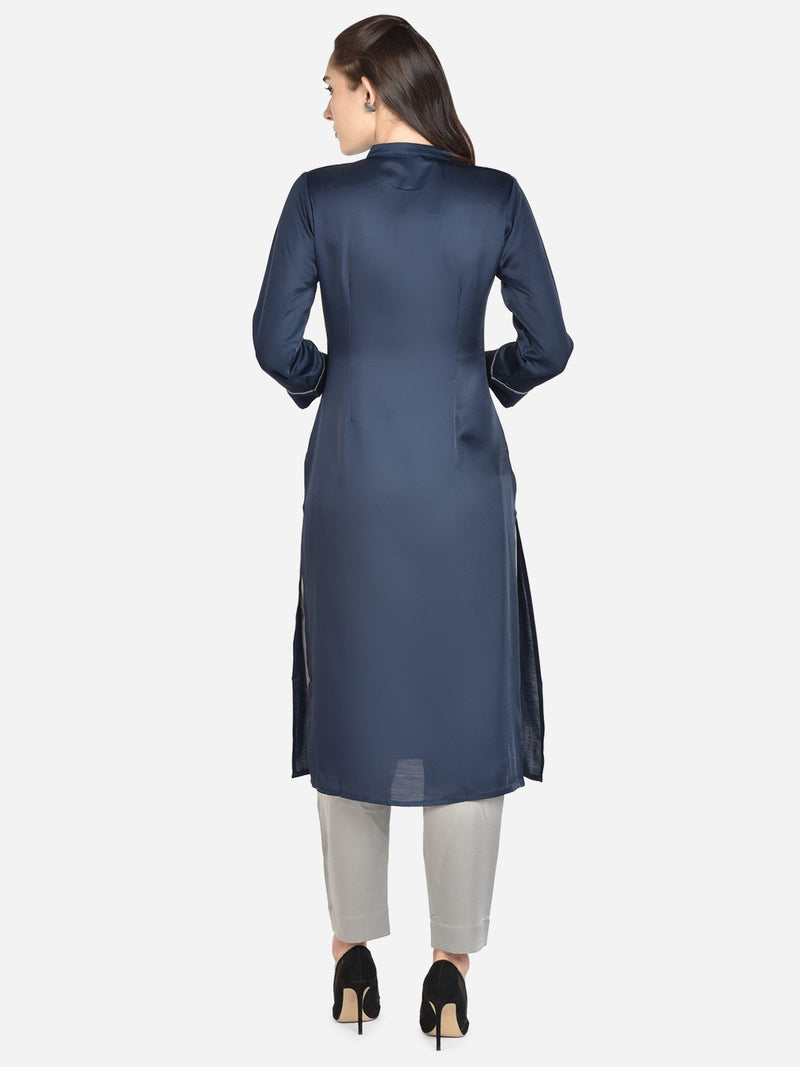 It Way Of Life - Blue Solid Woven Kurti