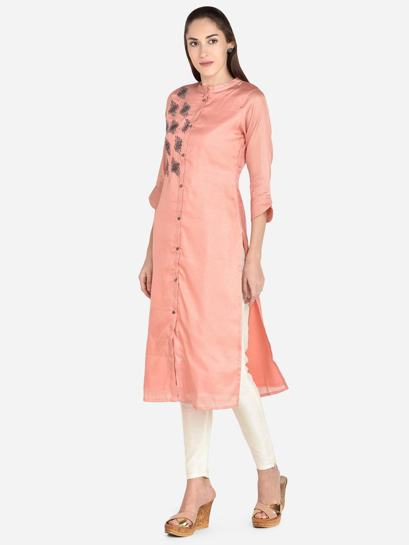 It Way Of Life - Peach Solid Woven Kurti