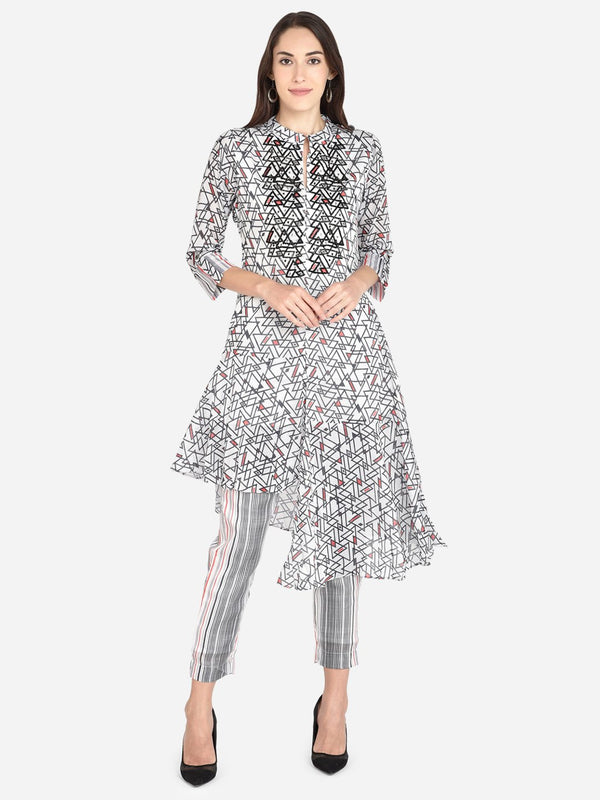 It Way Of Life - White & Black Printed Silky Georgette Woven Kurta